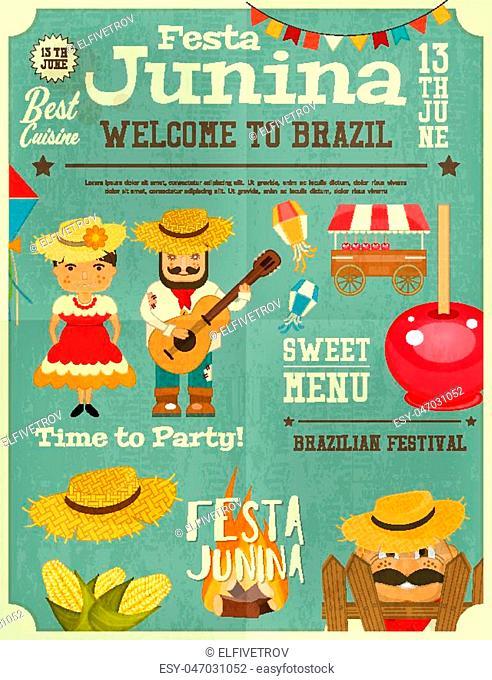 Festa Junina - Brazil June Festival. Retro Poster Infographic of Folklore Holiday. Vector Illustration
