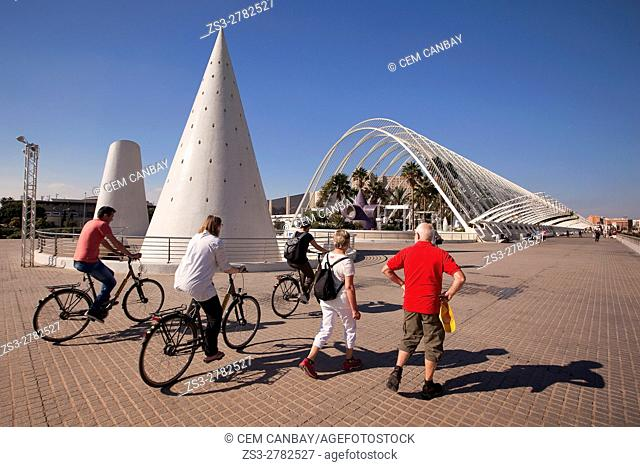 Tourists in front of the modern greenhouse Umbracle in La Ciudad de las Artes y las Ciencias-City of Arts and Sciences, Valencia, Spain, Europe