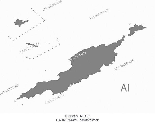 Anguilla Map grey