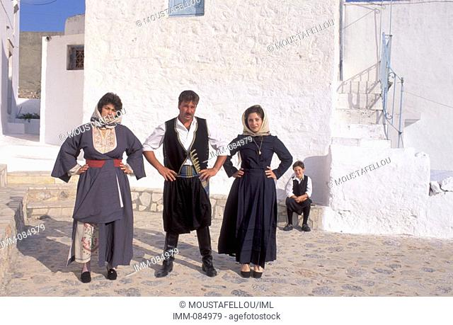 Dodecanese, Kalymnos Megalo Horio, local man and women in traditional costumes