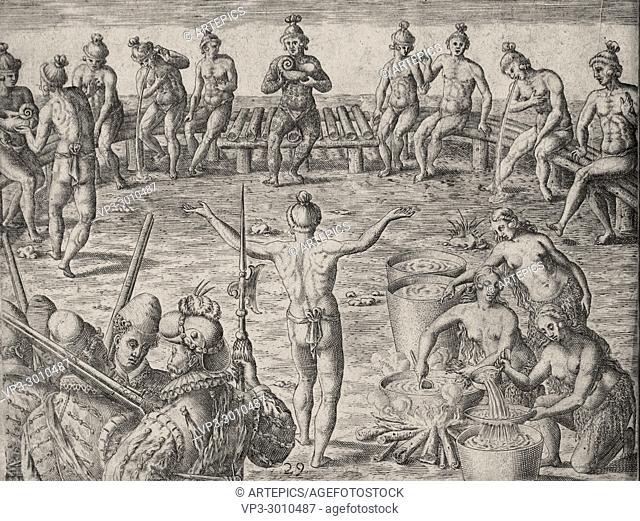 Theodor de Bry - natives meet and boil cassina