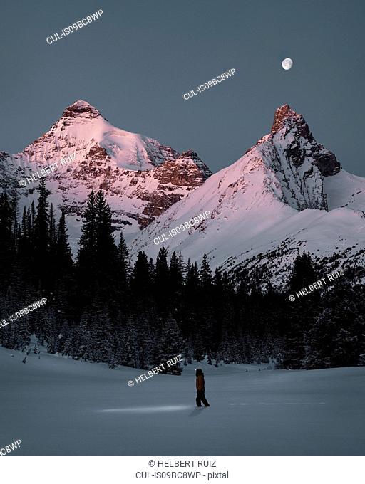 Sunrise with full moon in winter, Jasper National Park, Alberta, Canada