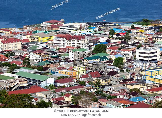 Dominica, Roseau, elevated town view, morning