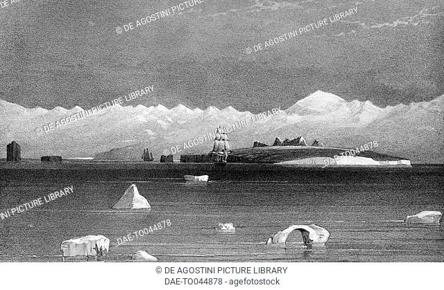 View from the sea of Mount Sabine and Possession Island, Antarctica, illustration from Voyage in the Southern and Antarctic Regions