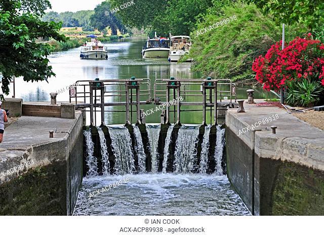 locks in Canal du Midi at Villeneuve de Beziers, Herault Department, France