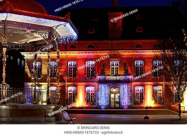 France, Territoire de Belfort, Belfort, Place d Armes, town hall, bandstand, Christmas lights