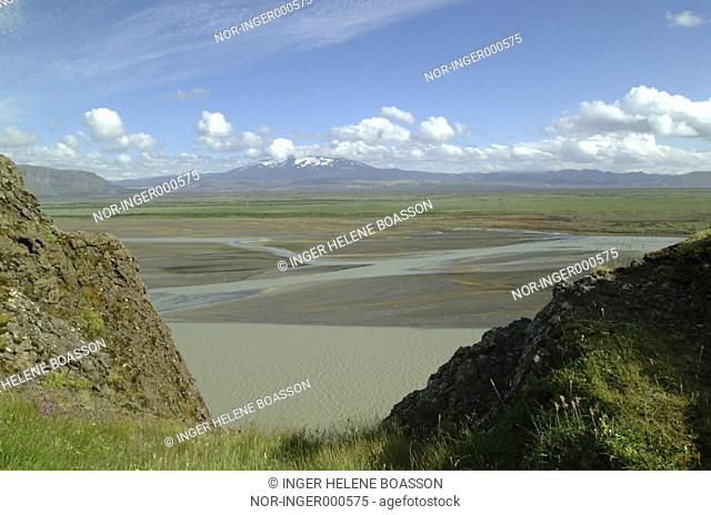 View of river Thjorsa and mountain Hekla in distance