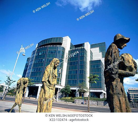 'Famine' memorial, by Rowan Gillespie. Financial Centre. Custom House Quay. Dublin. Ireland