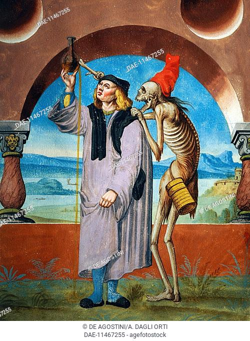 Death with the Doctor, detail of Death, the Lawyer and the Doctor, 1649, watercolour from the Dance of Death cycle, by Albrecht Kauw (1621-1681)