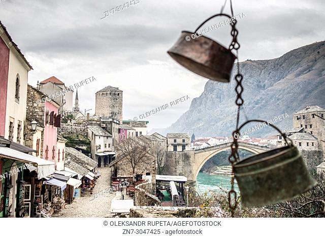 Old Town of Mostar with Old Bridge in the background, Bosnia and Herzegovina