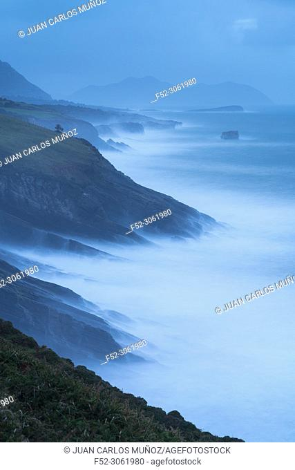 Storm and Big Waves, Islares, Cantabrian Sea, Montaña Oriental Costera, Castro Urdiales Municipality, Cantabria, Spain, Europe
