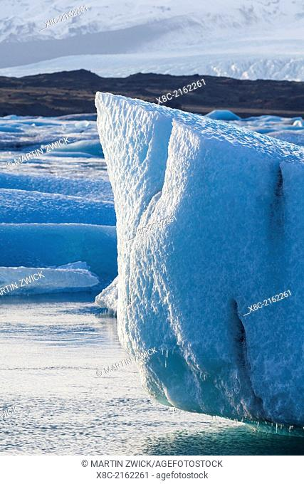 The glacial lagoon Joekulsarlon in the Vatnajoekull NP. europe, northern europe, iceland, February