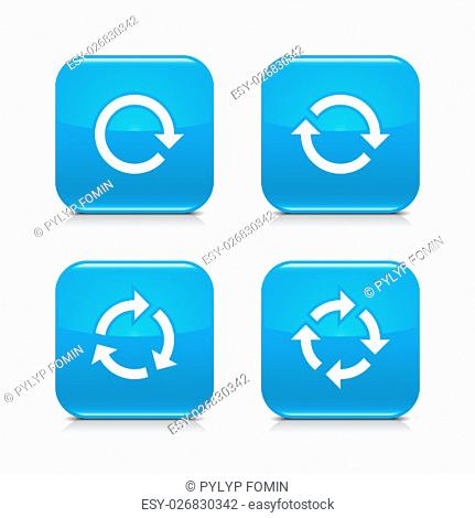 4 arrow icon. White repeat, reload, refresh, rotation sign. Set 02. Blue rounded square button with gray reflection, black shadow on white background