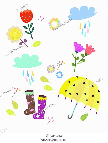 a template related to rain and flowers