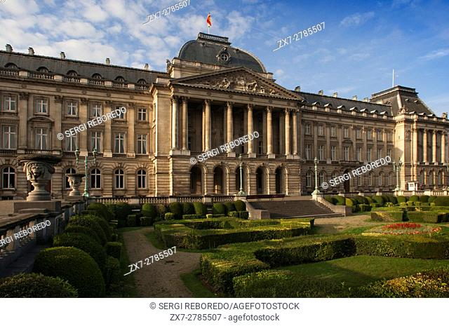 The Royal Palace in the center of Brussels, Belgium. Built in 1904 for King Leopold II Palais Royal. Place des Palais. (From mid-June to mid-September from...