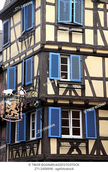 France, Alsace, Colmar, typical architecture, detail, windows