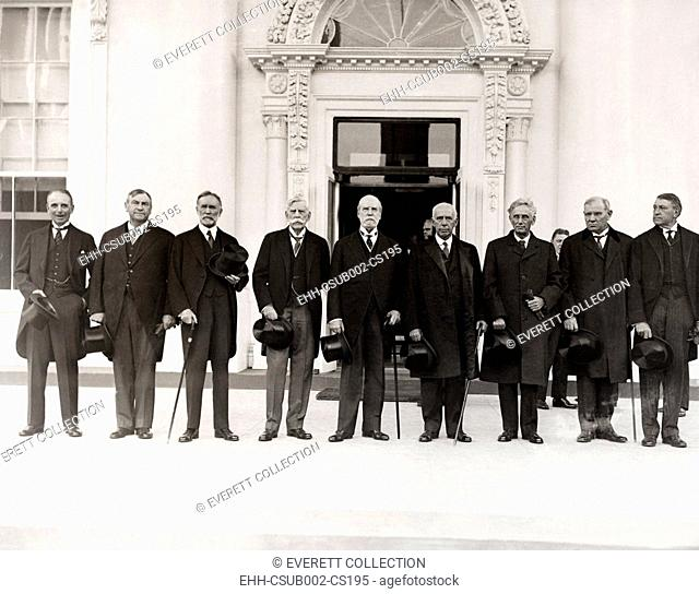 Chief Justice Charles Evans Hughes with Supreme Court Justices at the White House, Oct. 13, 1930. They notified President Herbert Hoover that the Court was in...