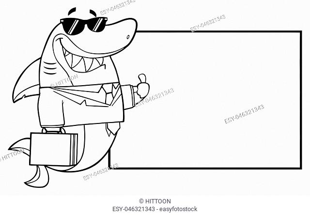 Black And White Smiling Business Shark Cartoon Mascot Character In Suit, Carrying A Briefcase And Holding A Thumb Up To Blank Board
