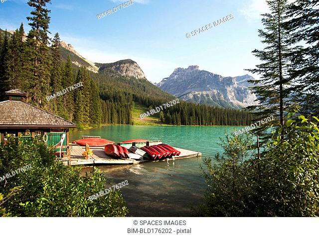 Canoes on wooden dock in rural lake