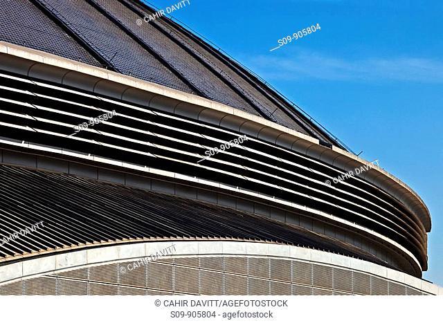 Spain, Cataluna, Barcelona, Sants Montjuic, Roof detail of the Palau Sants Jordi multipurpose stadium designed by the architect Arata Isozaki