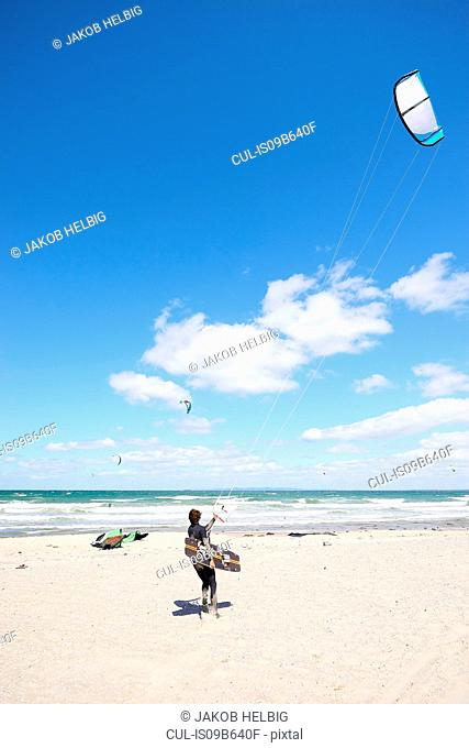 Kite surfer on beach, Hornbµk, Hovedstaden, Denmark