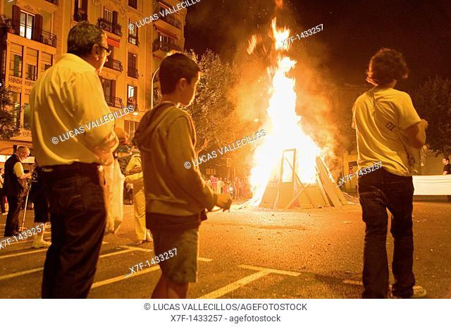 `San Joan'Bonfire  Verbena de San Juan  In Diputacion street  Barcelona  Catalonia  Spain