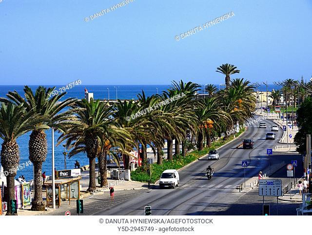 Europe, Portugal, Southern Portugal , Algarve region , Faro district , Lagos, Avenida dos Descobrimentos along Bensafrim River - on left