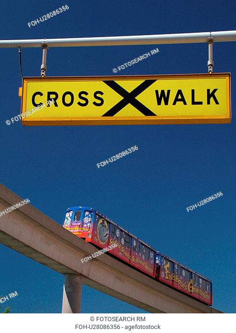 Detroit, MI, Michigan, Motor City, Downtown, skyline, Detroit People Mover, aerial trolley, elevated light-rail system, crosswalk sign