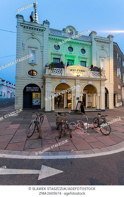 Dusk at the historic Duke of Yorks cinema in Brighton, East Sussex, England