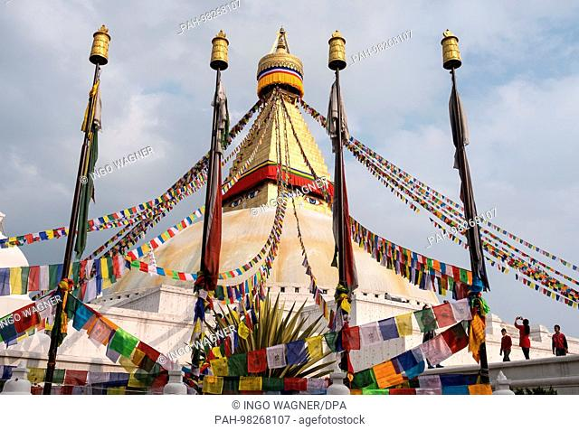 Boudhanath-Stupa in the nepali capital Kathmandu. One of the most important Buddhist sites. | usage worldwide. - Kathmandu/Nepal