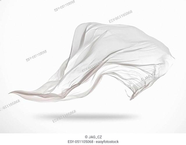 Smooth elegant transparent white cloth separated on gray background. Texture of flying fabric
