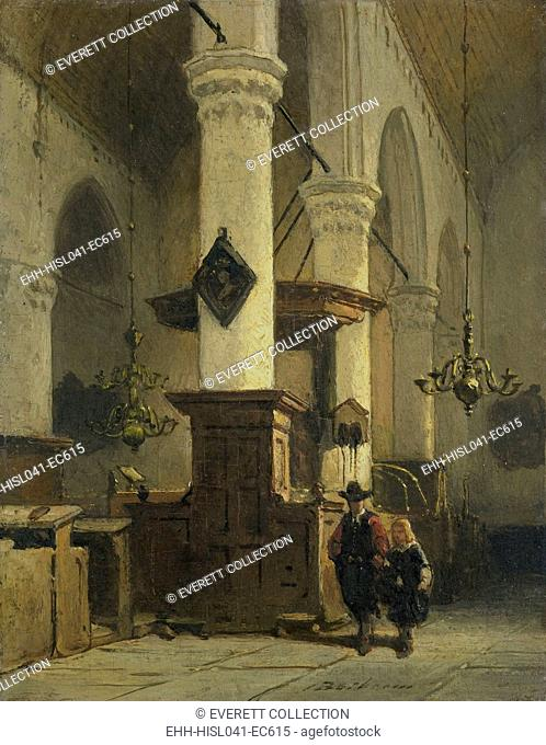 Church Interior, by Johannes Bosboom, 1850-91, Dutch painting, oil on panel. A man and a boy in 17th century clothing walk in the aisle