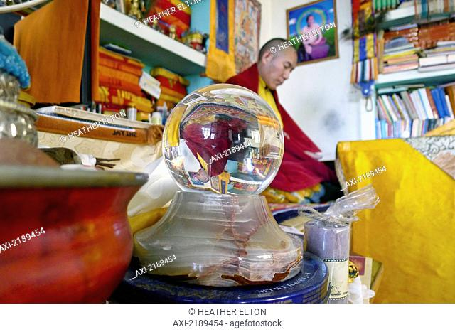 Chamtrul Rinpoche's Upside Down Reflection In A Crystal Ball As He Teaches In The Background, Mcleod Ganj, Himachal Pradesh, India