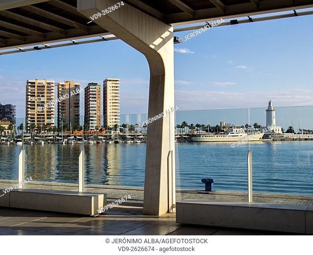 Muelle Uno seaside promenade port, Malaga city Costa del Sol. Andalusia southern Spain