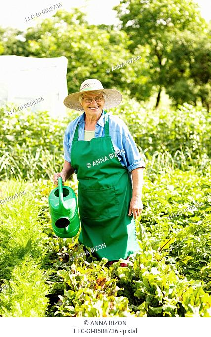 Senior woman watering a plant Debica, Poland