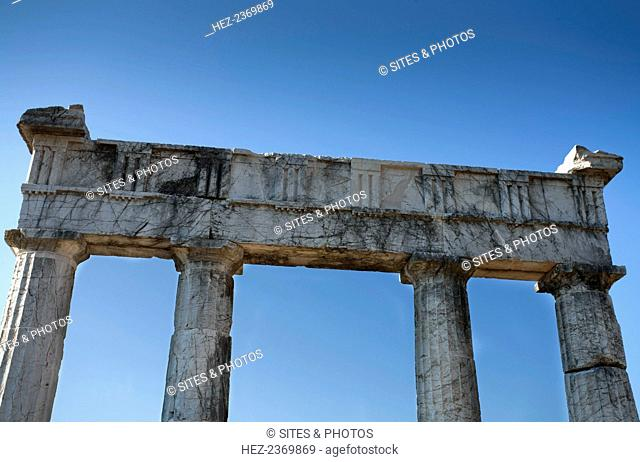 The Propylon of the gymnasium at Messene, Greece. Ancient Messene lies on the slopes of Mt Ithomi, 30km/19 miles northwest of Kalamata