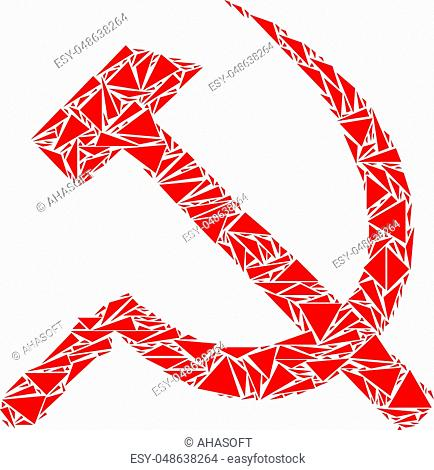Sickle and hammer collage of triangle items in different sizes and shapes. Vector triangles are united into sickle and hammer composition