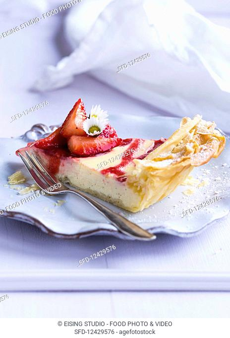A piece of strawberry filo pastry cake