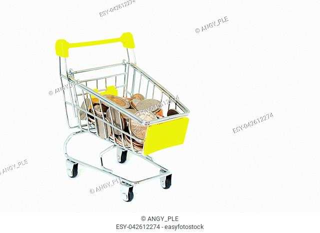 Business and Financial Concept : Various money coins (Baht) in yellow mini shopping cart or supermarket trolley isolated on white background