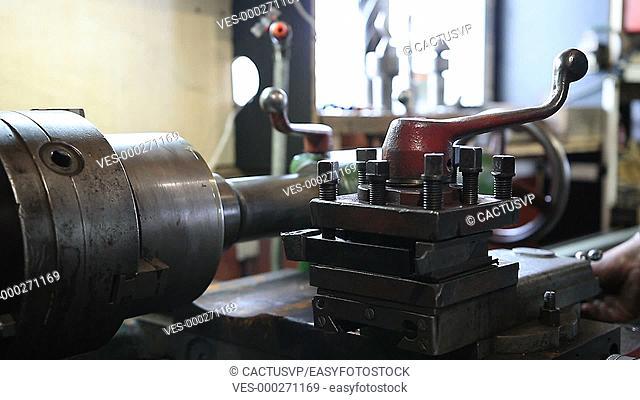 Close up old metal milling machine
