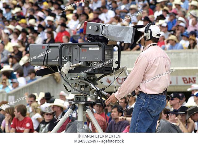 Camera, cameraman, television, transfer, spectators