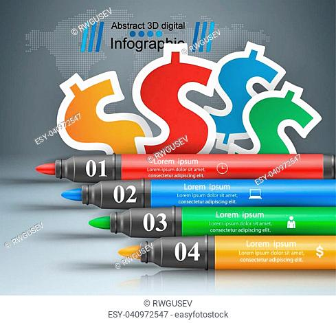 Origami style marker, dollar 3d infographics. Vector eps 10