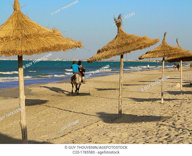 Tourists riding horses on the beach, with palm sunshades, at sunset, Djerba, Tunisia