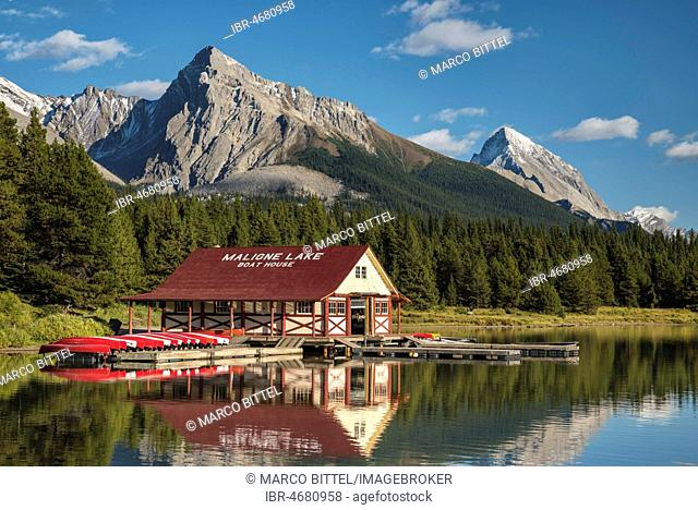 Boathouse with canoes on the shores of Maligne Lake, Jasper National Park, Rocky Mountains, Alberta, Canada