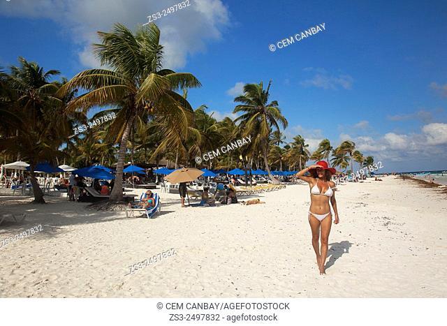 Woman in bikini at the beach, Tulum, Quintana Roo, Yucatan Province, Mexico, Central America