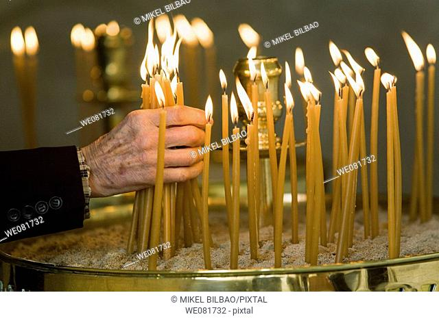Candle group in a church, Parikia, Paros, Cyclades islands, Greece