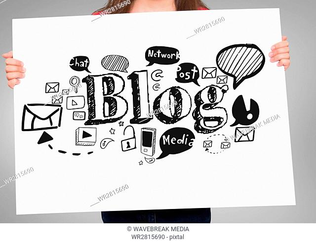 Businesswoman holding card with social media blog graphics drawings