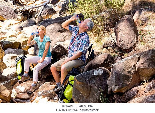 senior couple sitting on stones