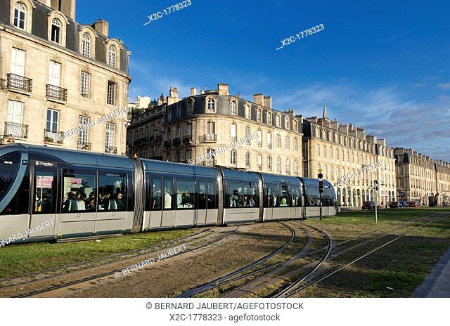 Public transport tram system in old Bordeaux, France, Europe