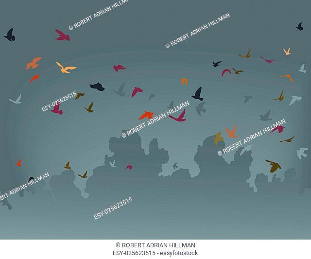 Vector illustration of a flock of flying birds against a gray sky